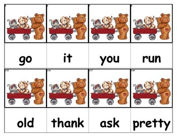 Dolch Words Flashcards - Bears with Red Wagon