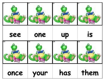 Dolch Words Flashcards - Dinosaur Reading