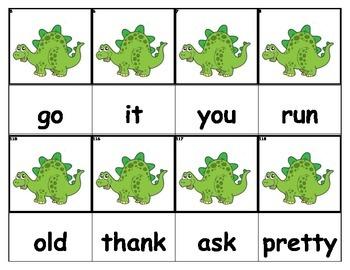 Dolch Words Flashcards - Dinosaur (Green)