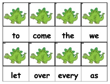 Dolch Words Flashcards - Dinosaur (Green)