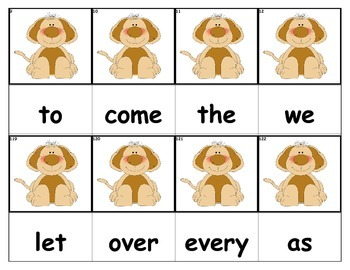 Dolch Words Flashcards - Dog