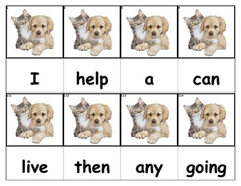 Dolch Words Flashcards - Dog & Cat