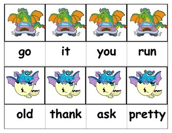 Dolch Words Flashcards - Dragons