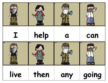 Dolch Words Flashcards - Duck Dynasty (Colored Background)