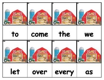 Dolch Words Flashcards - Farm