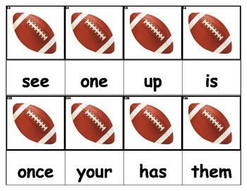 Dolch Words Flashcards - Football (left)