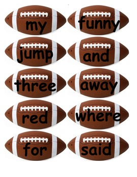 Dolch Words Flashcards Shapes: Footballs
