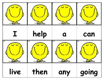 Dolch Words Flashcards - Happy Face