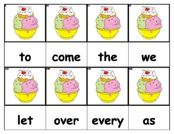 Dolch Words Flashcards - Ice Cream Dish