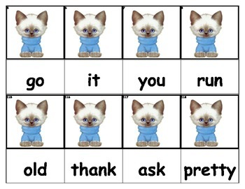 Dolch Words Flashcards - Cat in Sweater