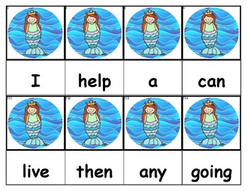 Dolch Words Flashcards - Mermaid