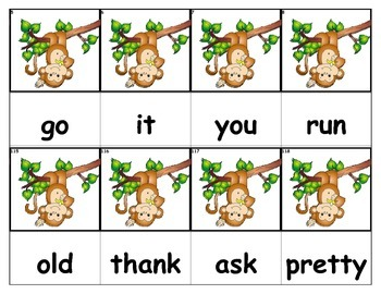 Dolch Words Flashcards - Monkey In Tree