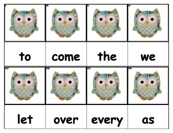 Dolch Words Flashcards - Owl