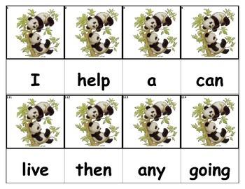 Dolch Words Flashcards - Bear (Panda)