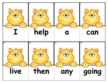 Dolch Words Flashcards - Cat Peek Over
