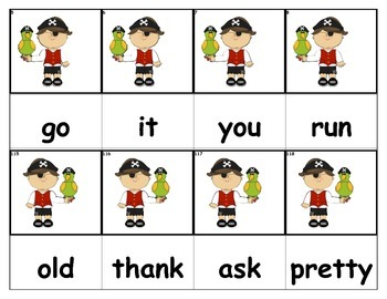Dolch Words Flashcards - Pirates