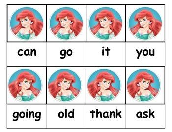 Dolch Words Flashcards - Princess Ariel