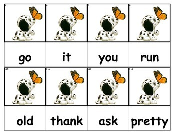 Dolch Words Flashcards - Dog & Butterfly