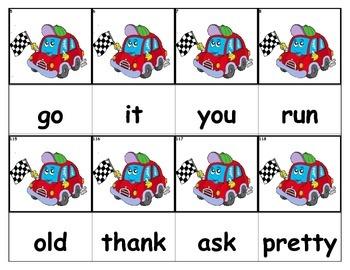 Dolch Words Flashcards - Racecar