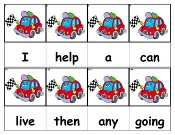 Dolch Words Flashcards - Racecar