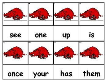 Dolch Words Flashcards - Razorbacks Hogs