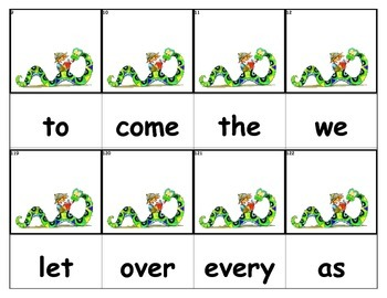 Dolch Words Flashcards - Snake Reading