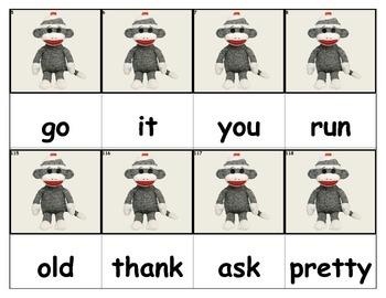 Dolch Words Flashcards - Sock Monkey