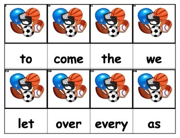 Dolch Words Flashcards - Sports Balls