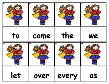 Dolch Words Flashcards - Supergirl