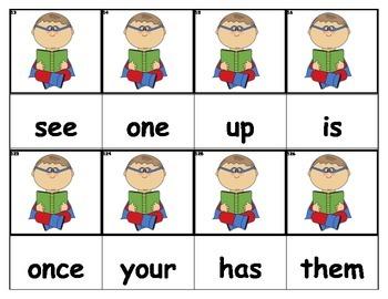 Dolch Words Flashcards - Superhero Reading
