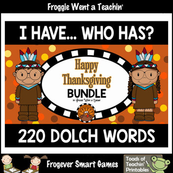 """220 Dolch Words I Have... Who Has? Bundle """"Happy Thanksgiving"""""""
