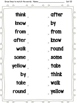 Dolch Words Worksheets: Matching