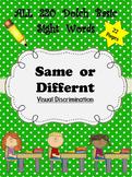 Dolch Words Worksheets: Visual Discrimination - Same or Different