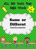 Dolch Words Worksheets: Visual Discrimination - Same or Different