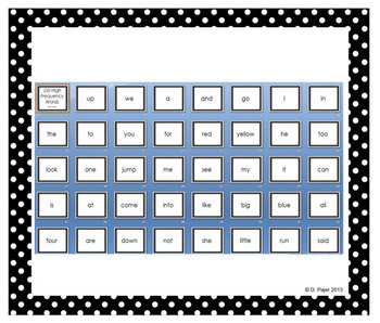 220 High Frequency Words Power Point - Black with White Polka Dots