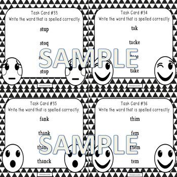 220 Sight Word Spelling Emoji Task Cards