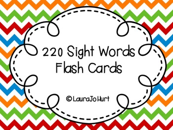 220 Sight Words Flash Cards