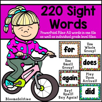 220 Sight Words Power Point