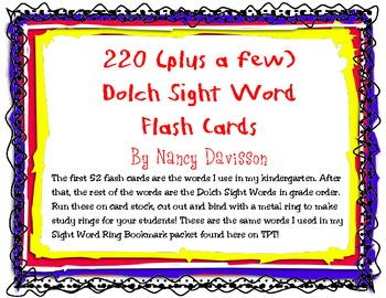 220 (plus a few) Dolch Sight Word Flash Cards
