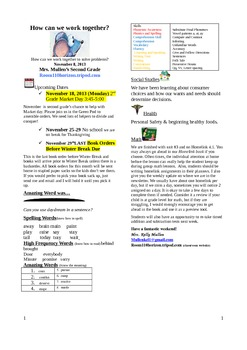 2.2.5 One Good Turn Reading Street 2nd Grade Newsletter Unit 2 Week 5