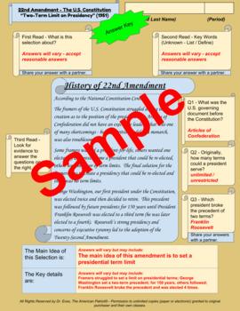 "22nd Amendment - ""Two-Term Limit on Presidency""- Enhanced DBQ - Close Read (PDF)"