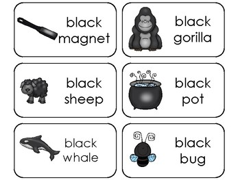 23 Color Black Printable Flashcards. Preschool-Kindergarten