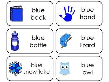 23 Color Blue Printable Flashcards. Preschool-Kindergarten
