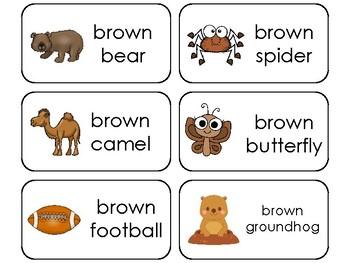 23 Color Brown Printable Flashcards. Preschool-Kindergarten