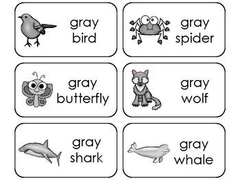 23 Color Gray Printable Flashcards. Preschool-Kindergarten