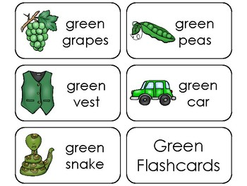 23 Color Green Printable Flashcards. Preschool-Kindergarten