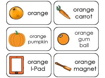 23 Color Orange Printable Flashcards. Preschool-Kindergarten