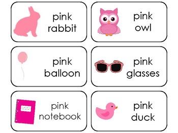23 Color Pink Printable Flashcards. Preschool-Kindergarten