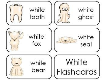 23 Color White Printable Flashcards. Preschool-Kindergarten