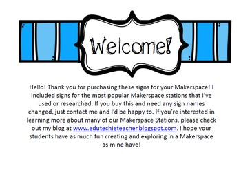 Makerspace Signs and Labels for Your Classroom or Library {+ Editable Sign}